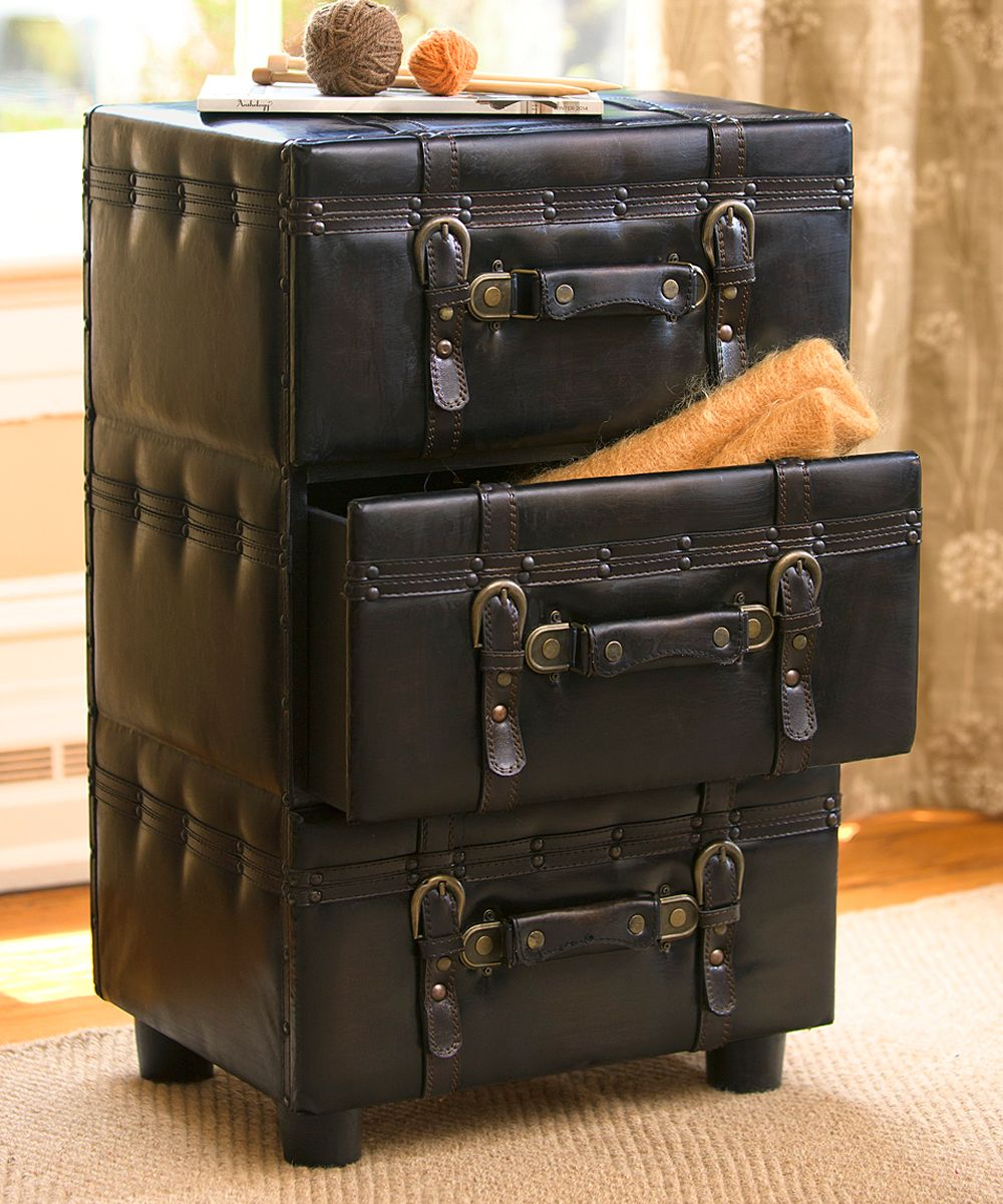 Faux Leather Trunk Side Table