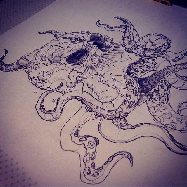 Mulpix Skulls Skull Sketch Drawing Draw Octopus Evil
