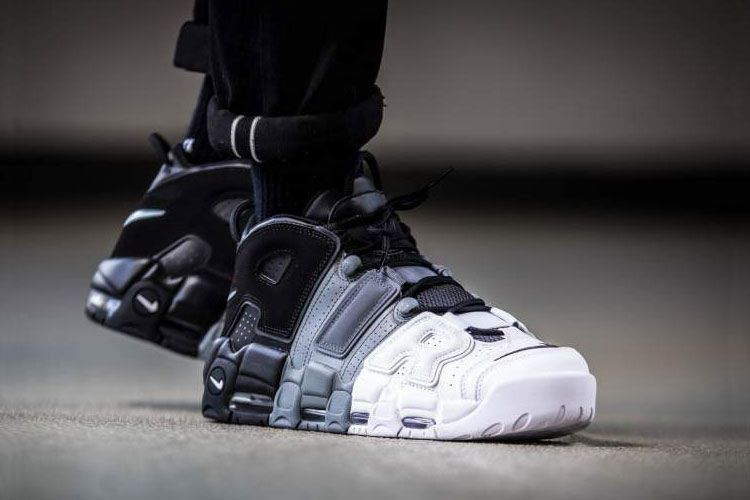 7cdd9af5c5e06 Nike Air More Uptempo Tri-Color Sneakers Men s Basketball Shoes Black White  Grey