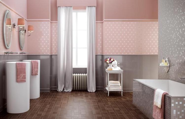 Carrelage de salle de bains 57 idées pour les murs et le sol - mosaique rose salle de bain