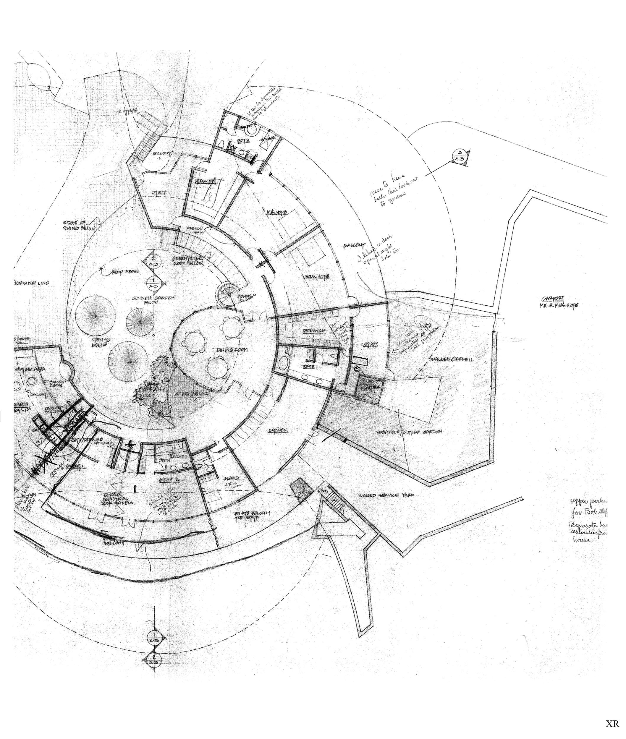 Blueprint round house vintage architecture pinterest vintage blueprint round house malvernweather Choice Image
