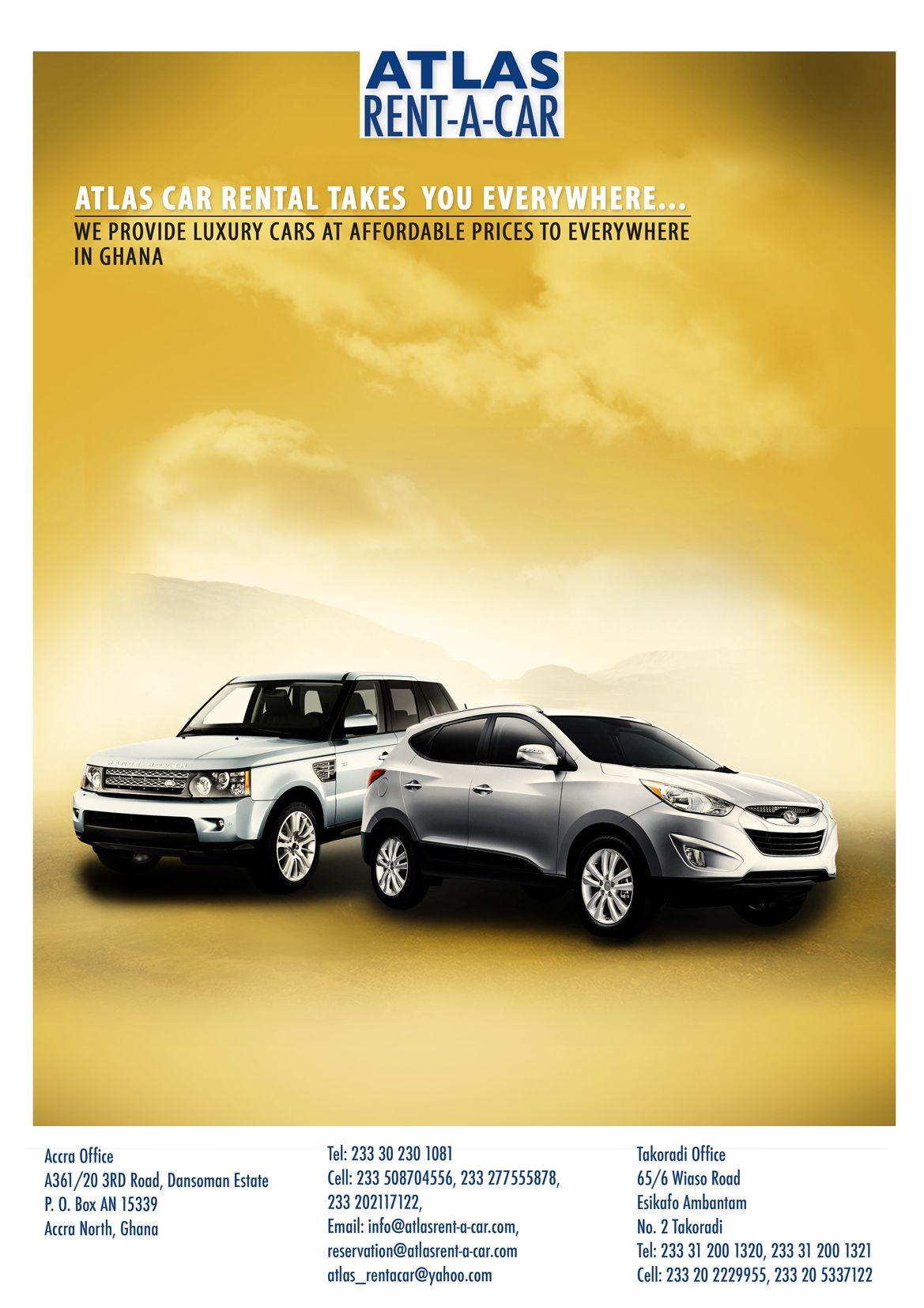 Atlas Rent A Car Poster Rent a car, Car rental, Digital