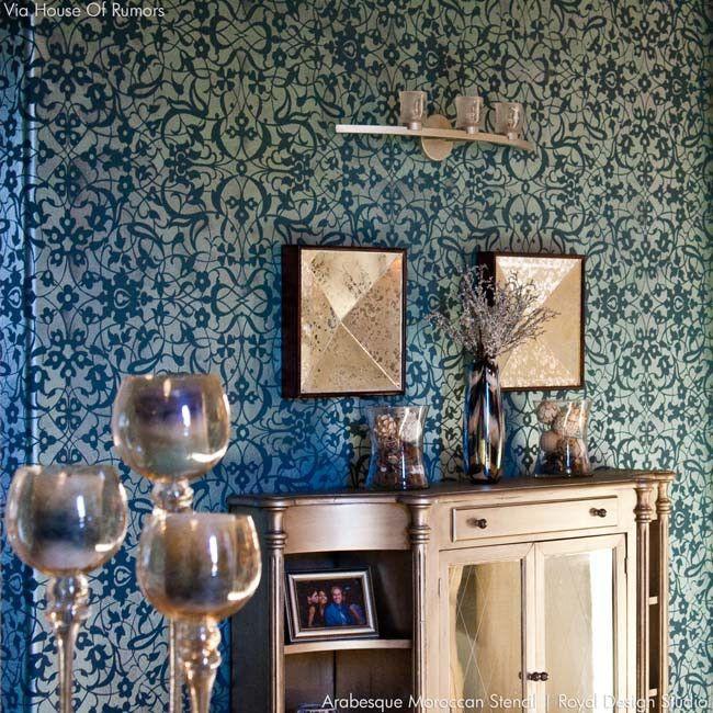 Merveilleux Dramatic Dark Wall Decor For Regal And Elegant Home Decor   Arabesque  Moroccan Stencils   Royal