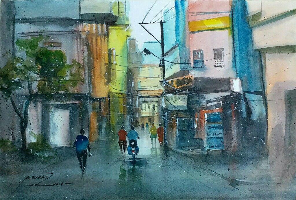 Alexraj watercolour painting pondicherry india