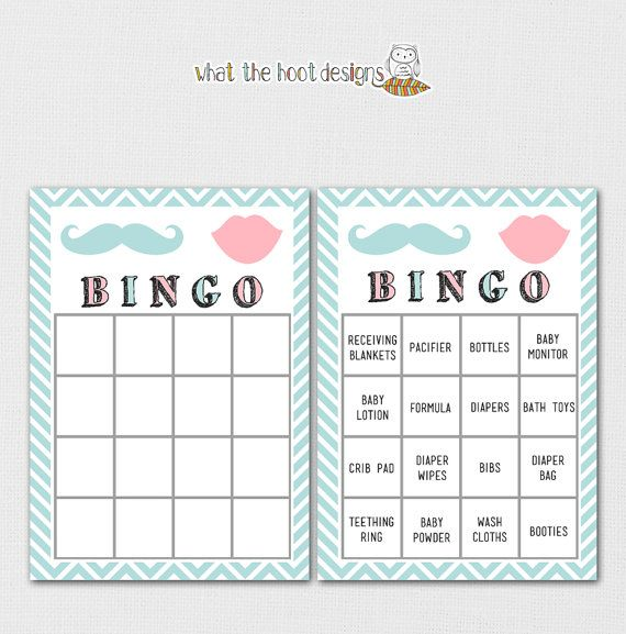 printable baby shower game bingo gender reveal party mustache