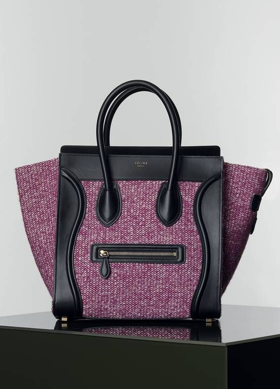 Céline Mini Luggage Handbag In G Tweed