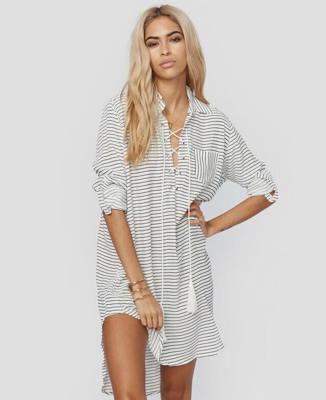 78c427870 ... Swimsuit Cover UpN. Black and White Striped Collared Lace-Up Plunge V Long  Sleeved Shirt Dress