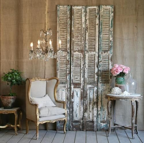 I like old shutters too but a door is better interior - Shutters for decoration interior ...