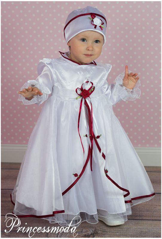 LENI - Designer Taufkleid mit Hut in weiß - bordeaux ...