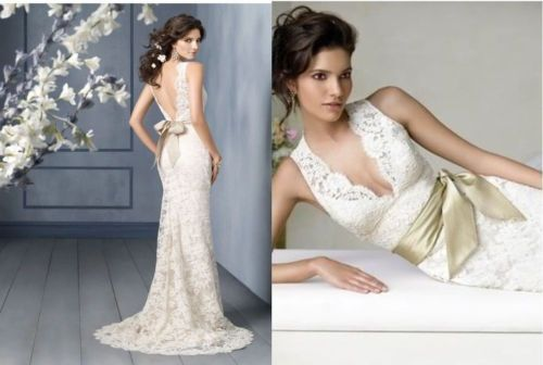 New Ivory V Neck Bow Lace Wedding Dress Gown Stock US Size 12 | eBay
