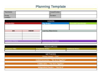 This Planning Template Reflects Principles Of Backwards Design As