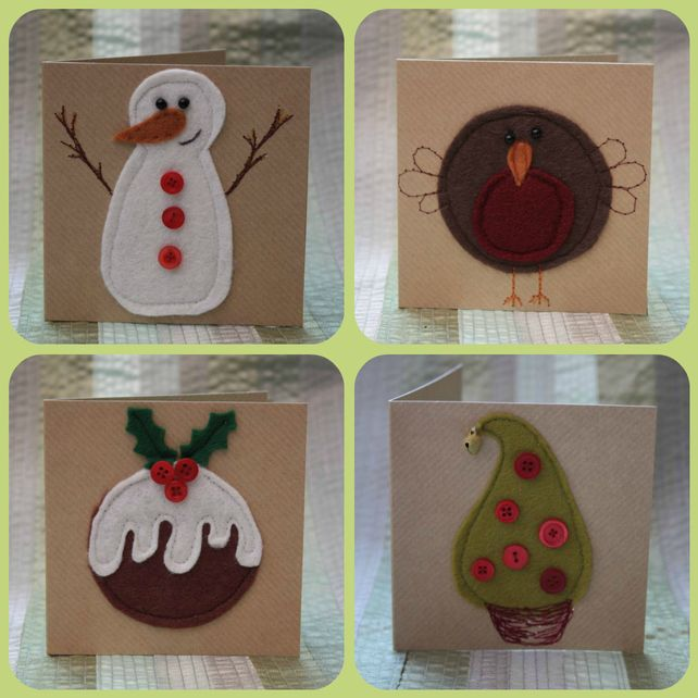 Pack 1 of small felt Christmas cards £7.50