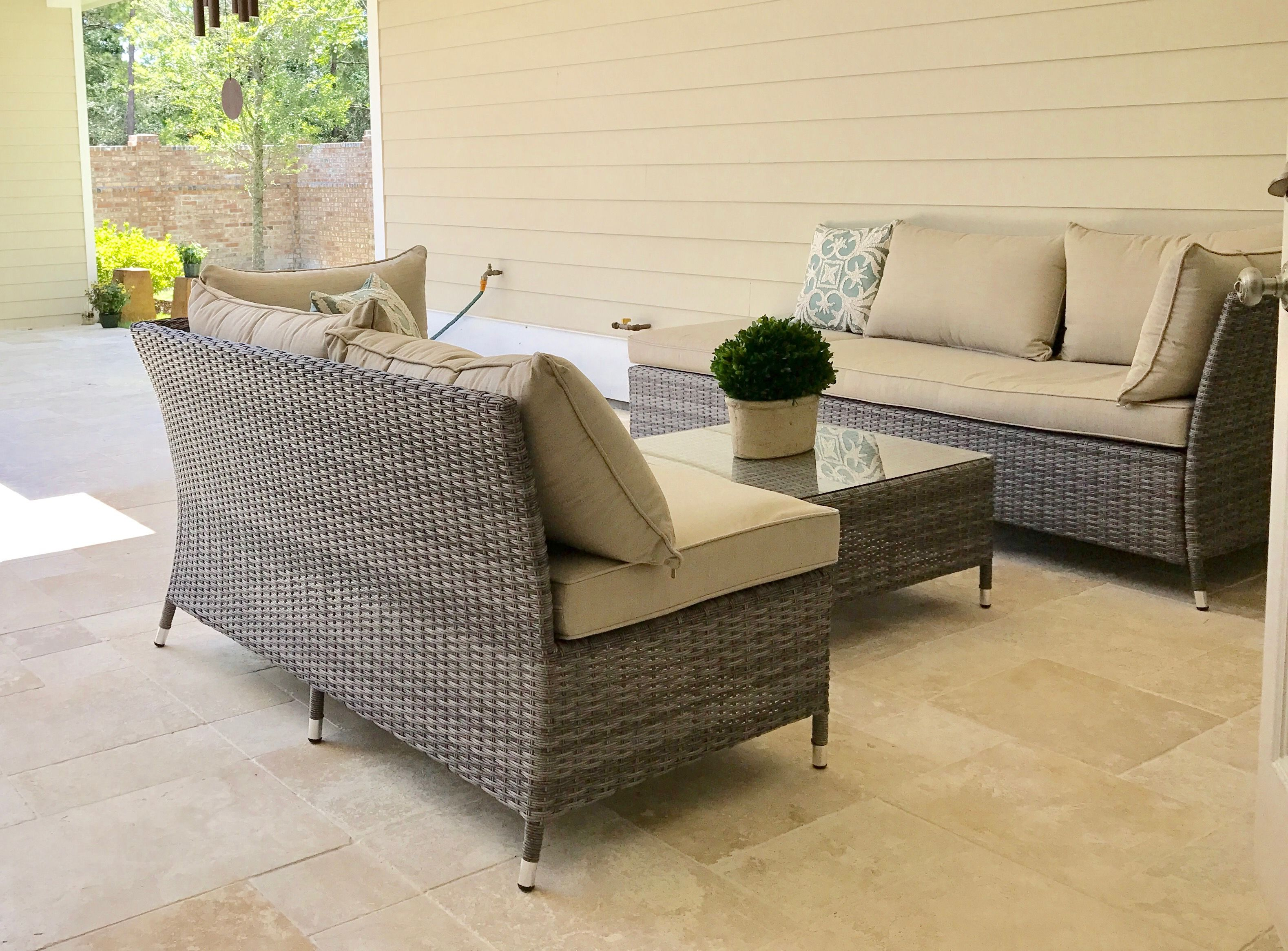 Corvus Bellanger Outdoor 4 Piece Grey Wicker Seating Set From