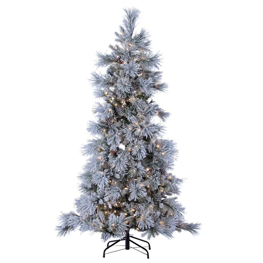 Sterling 7 Ft Indoor Pre Lit Led Lightly Flocked Snowbell Pine Artificial Christmas Tree 450 Ul Cool White Led Twinkling Lights Realistic Artificial Christmas Trees Christmas Tree Frosted Christmas Tree