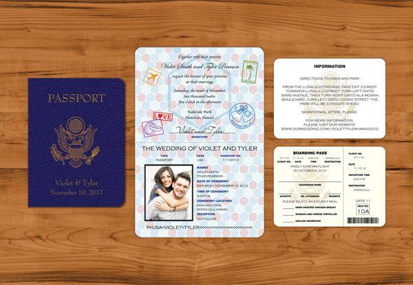 1000 images about Destination Wedding invitations – Passport Wedding Invites
