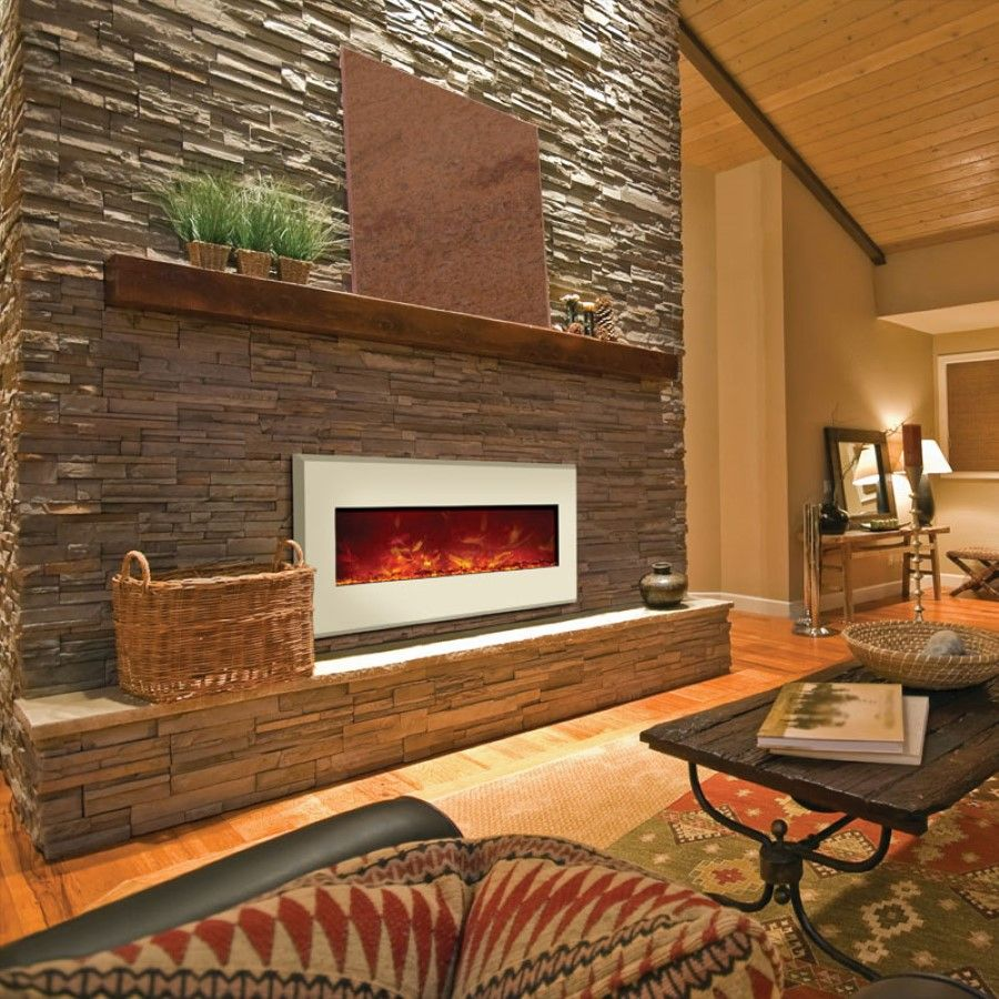 Stone Fireplace Crisp Architects: Awesome Built In Brown Mosaic Wall Mounted Electric