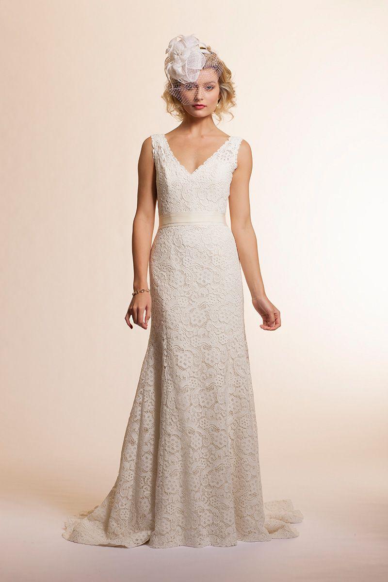 Vintage inspired lace wedding dresses  Lace and Novelty VNeckTrumpet  Sage  Amy Kuschel  Vintage