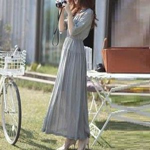 Elbow-Sleeve Plain Maxi Dress