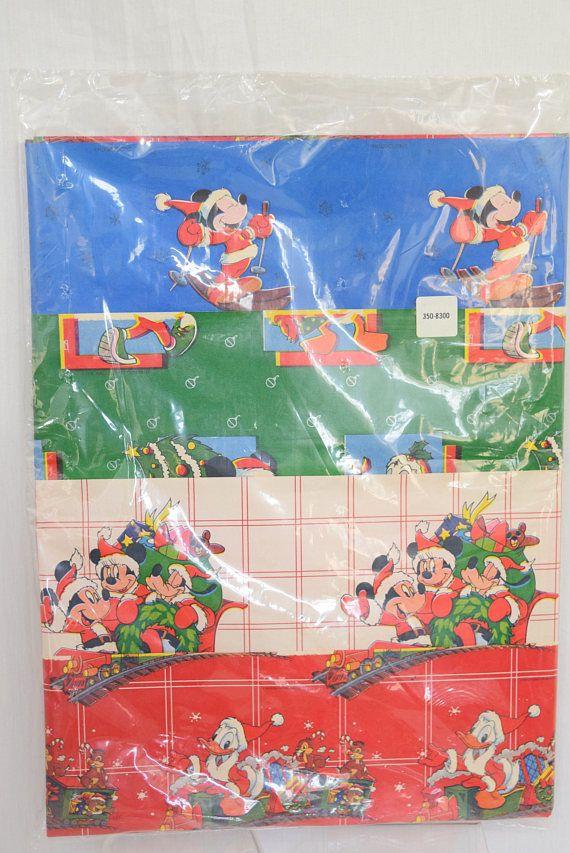 vintagedisney christmas wrapping paper chipmunks mickeymouse disneychristmas