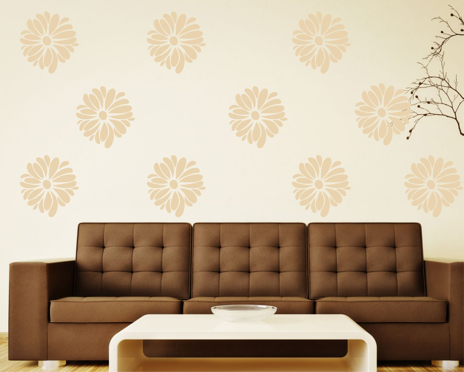 Marvelous Flower Wall Decals   Patterned Flower Great For Bedroom Or Living Room Wall  Art Decor
