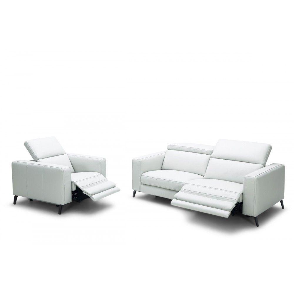 Divani Casa Roslyn Modern White Leather Sofa Set W Recliners
