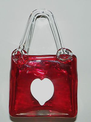 Beautiful Vtg Valentine Murano Ruby Red Glass Applied White Heart