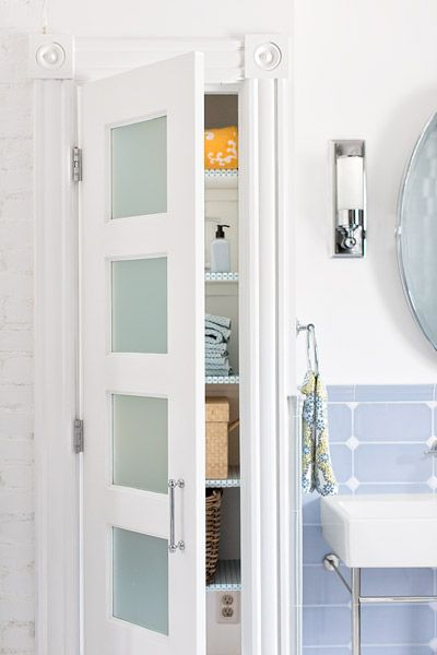 Frosted Gl Doors Accent This Linen Closet Which Doubles As A Medicine Cabinet Photo Patricia Lyons Thisoldhouse