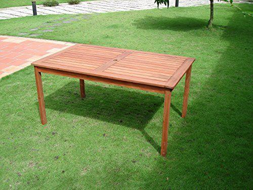 VIFAH V98 Outdoor Wood Rectangular Table, Natural Wood Fi...…