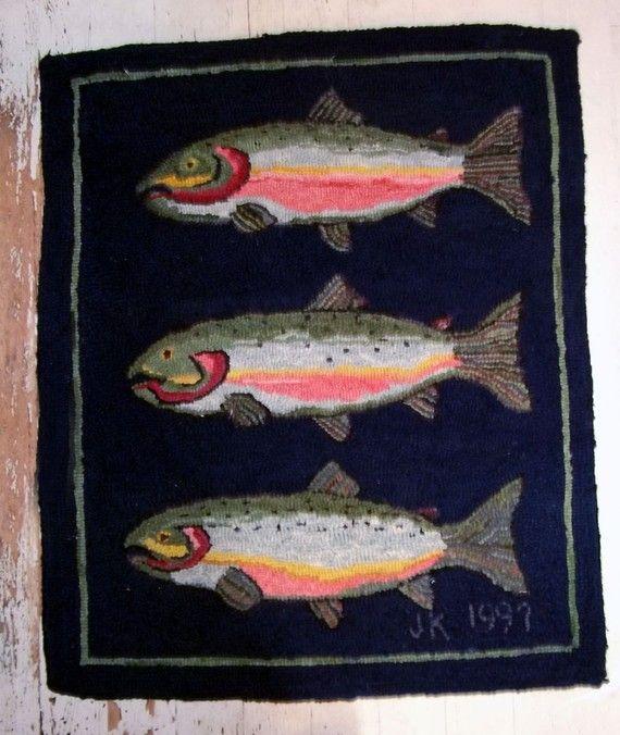Hand Hooked Original Design Wool Rug With 3 Salmon By Cookrapf 395 00 Rug Hooking Patterns Rug Hooking Hand Hooked Rugs