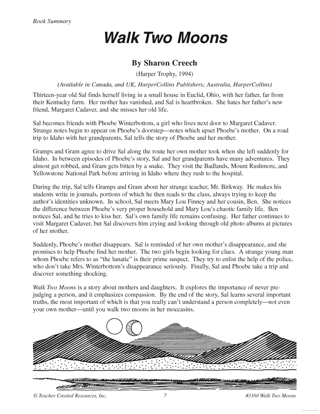 A Guide For Using Walk Two Moon In The Classroom Book Summarie Essay Discussion Question Theme