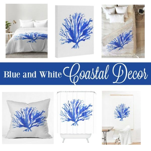 coastal decor ideas - blue and white sea coral