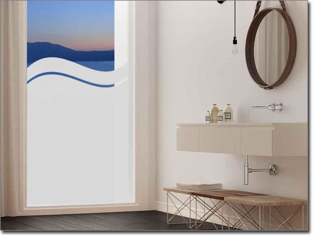Blickdichte Fensterfolie Welle - folie für badezimmerfenster