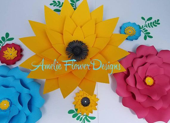 Yellow, blue and red flowers wall decor. Large paper flowers wall ...