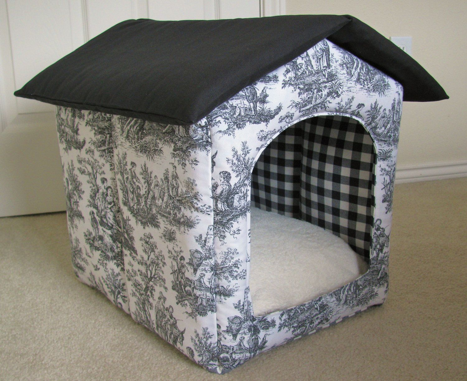 Items Similar To Portable Foldable Collapsible Indoor Waverly Black White Toile Fabric Cat Dog Puppy House On Ets Indoor Dog House Puppy House Toile Fabric