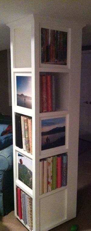 Support Beam In Basement Built Into A Book Shelf By