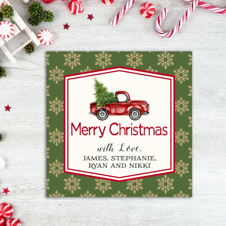 Truck Christmas Gift Tags Christmas Tags Personalized Tag Printable ...