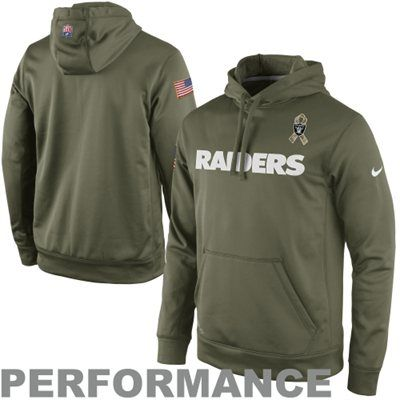 da7d86a35 Nike Oakland Raiders Salute to Service KO Pullover Performance Hoodie -  Olive  SalutetoService