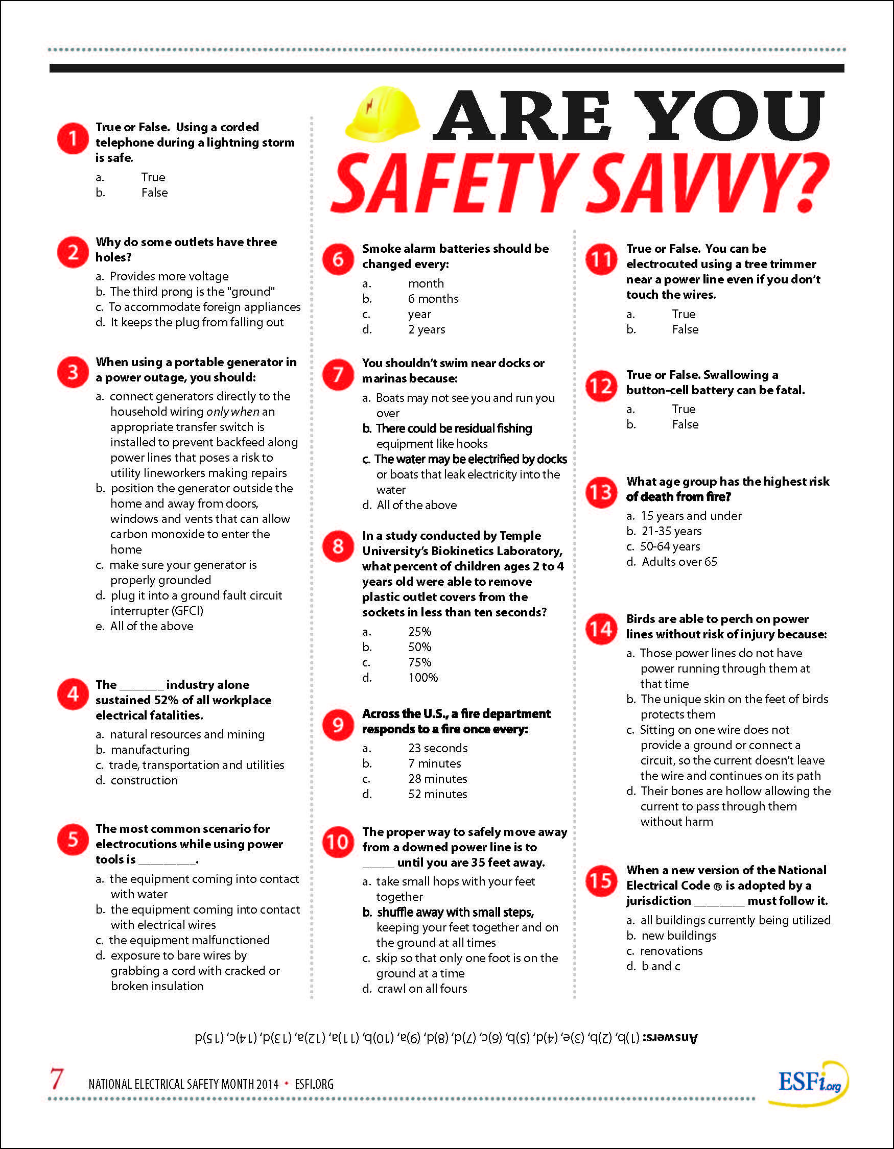 """Are you """"Safety Savvy?"""" 2014 NESM Quiz ESFi"""