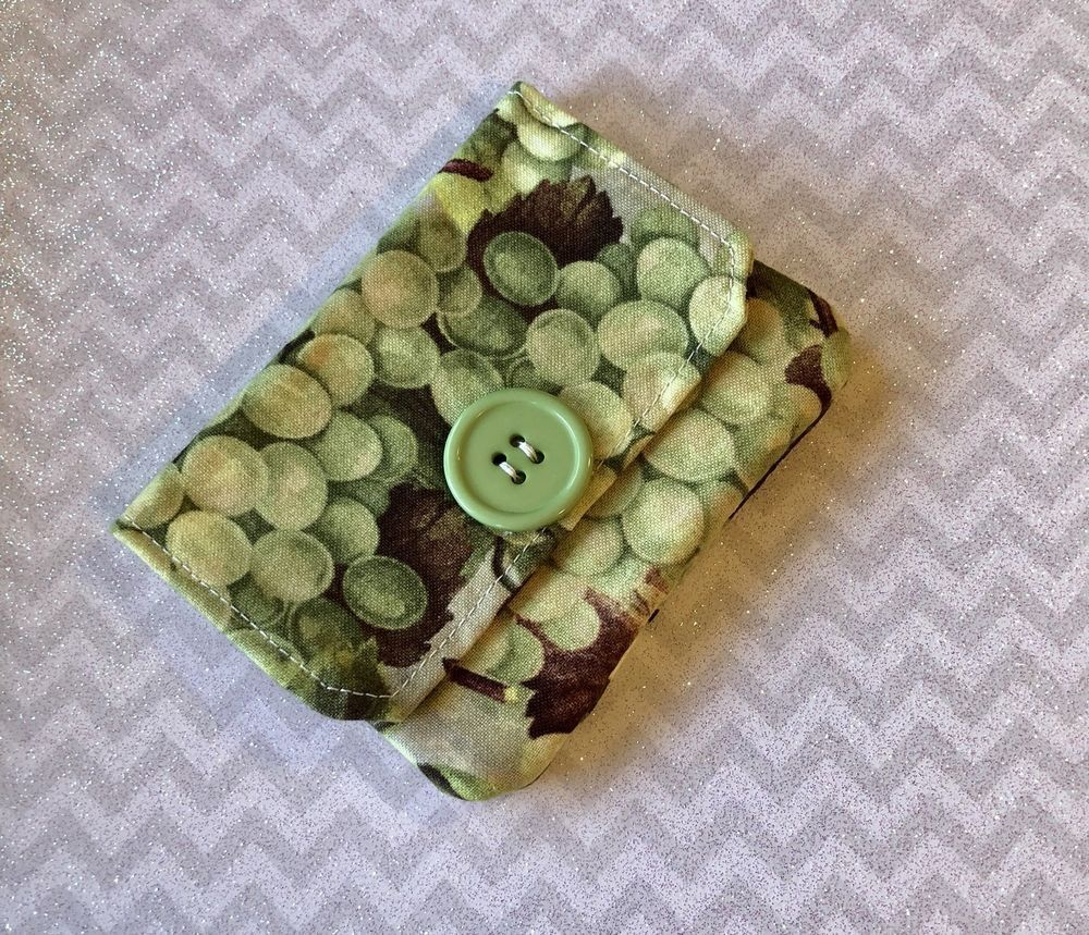 Fabric wallet credit card holder business card holder green fabric wallet credit card holder business card holder green grapes fabric reheart Images