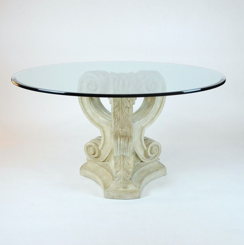 Glass Top Dining Table Cast Stone Volute Base Decor Nyc Store Dining Table Glass Top Dining Table Glass Dining Table