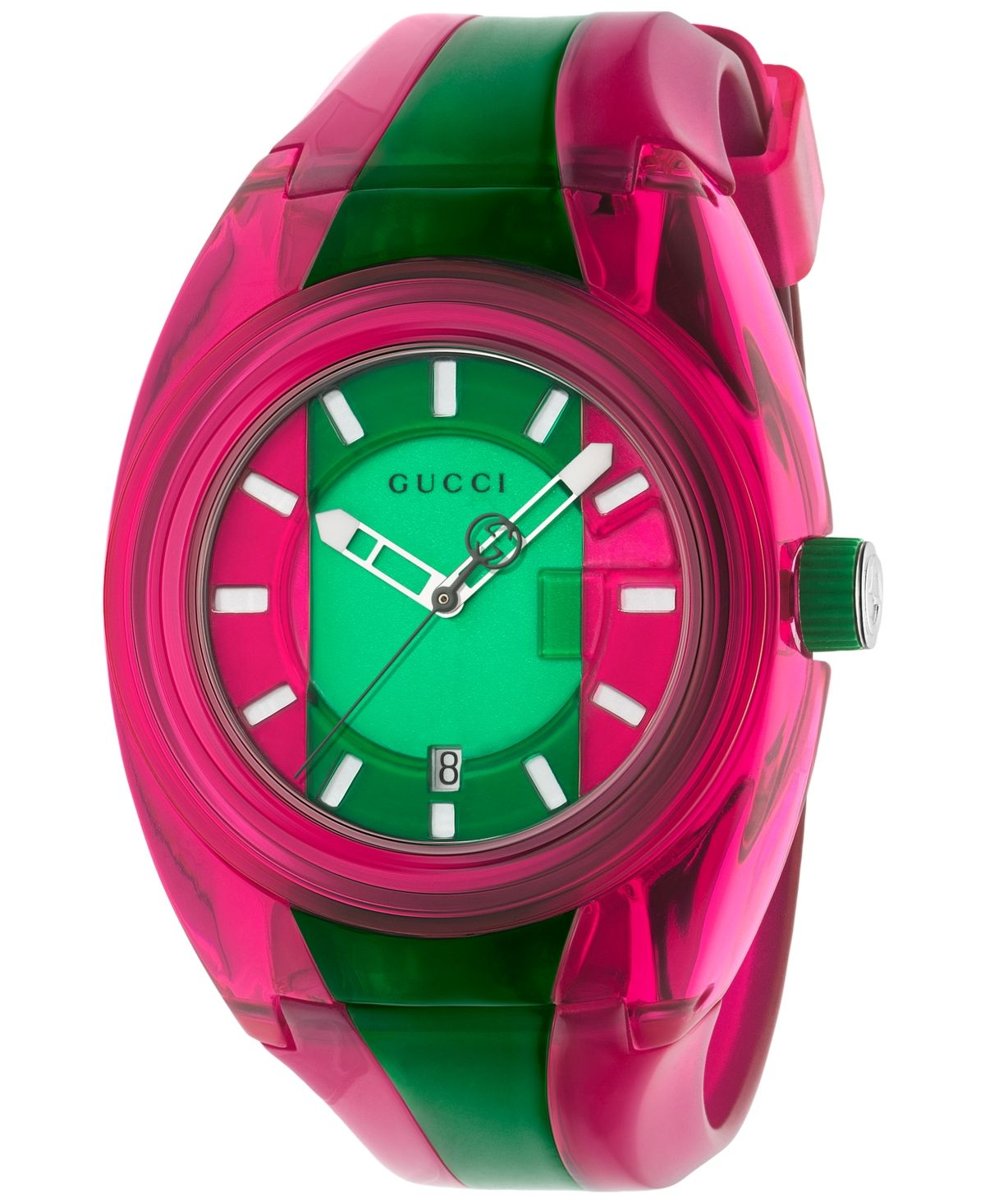 Gucci Unisex Swiss Sync Pink & Green Rubber Strap Watch