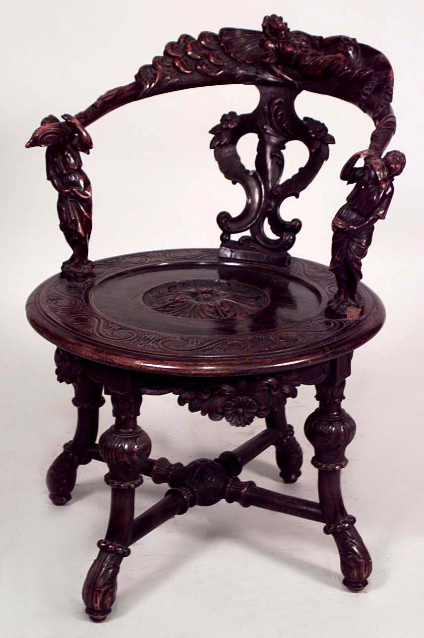 Italian Renaissance Seating Chair Arm Chair Walnut