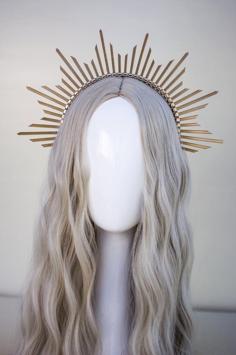 macrame head piece earth goddess head piece