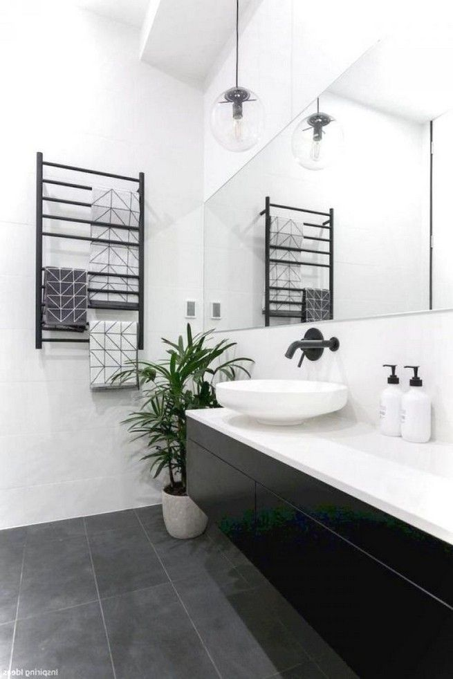 bathroom ideas black and white floor 4  wnętrza