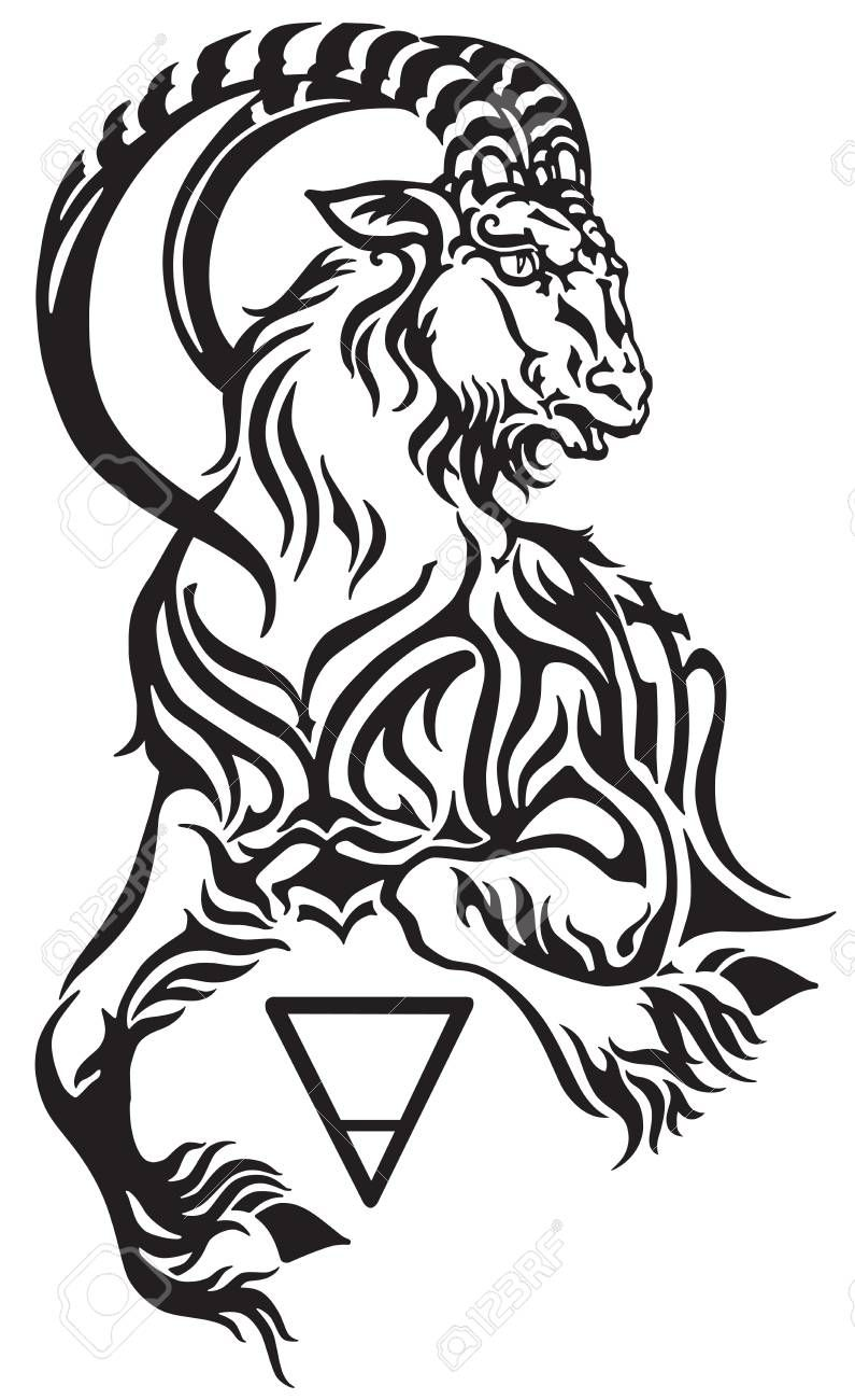 da4975f66 Capricorn zodiac sign, tribal tattoo style mythological creature.  Astrological sea goat including symbols of Saturn planet and earth.