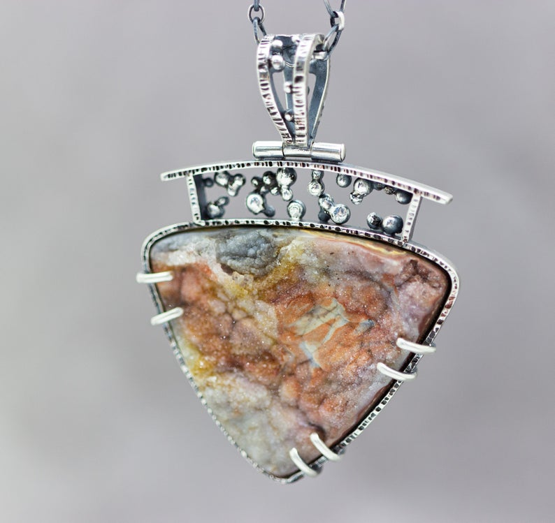 Linda Marie Agate with Druzy Sterling Silver Pendant
