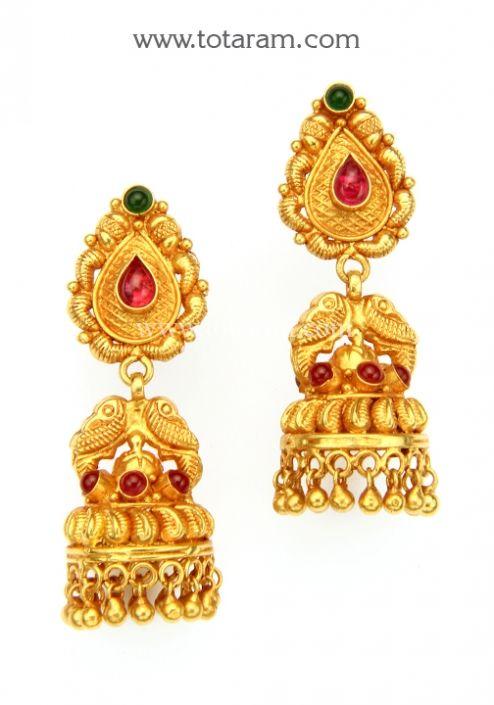 Temple Jewellery 22K Gold Peacock Jhumkas 22K Gold Dangle