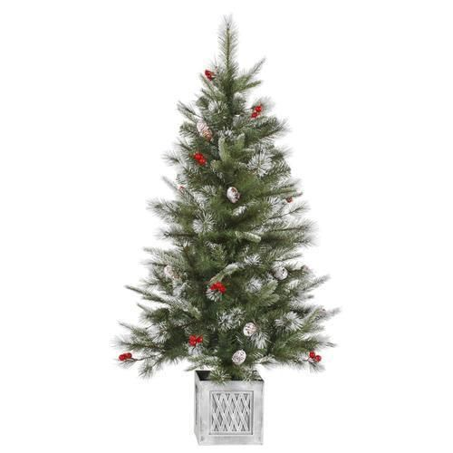 Frosted Slim Christmas Tree: 4' Frosted Pine Cone And Berry Potted Artificial Christmas
