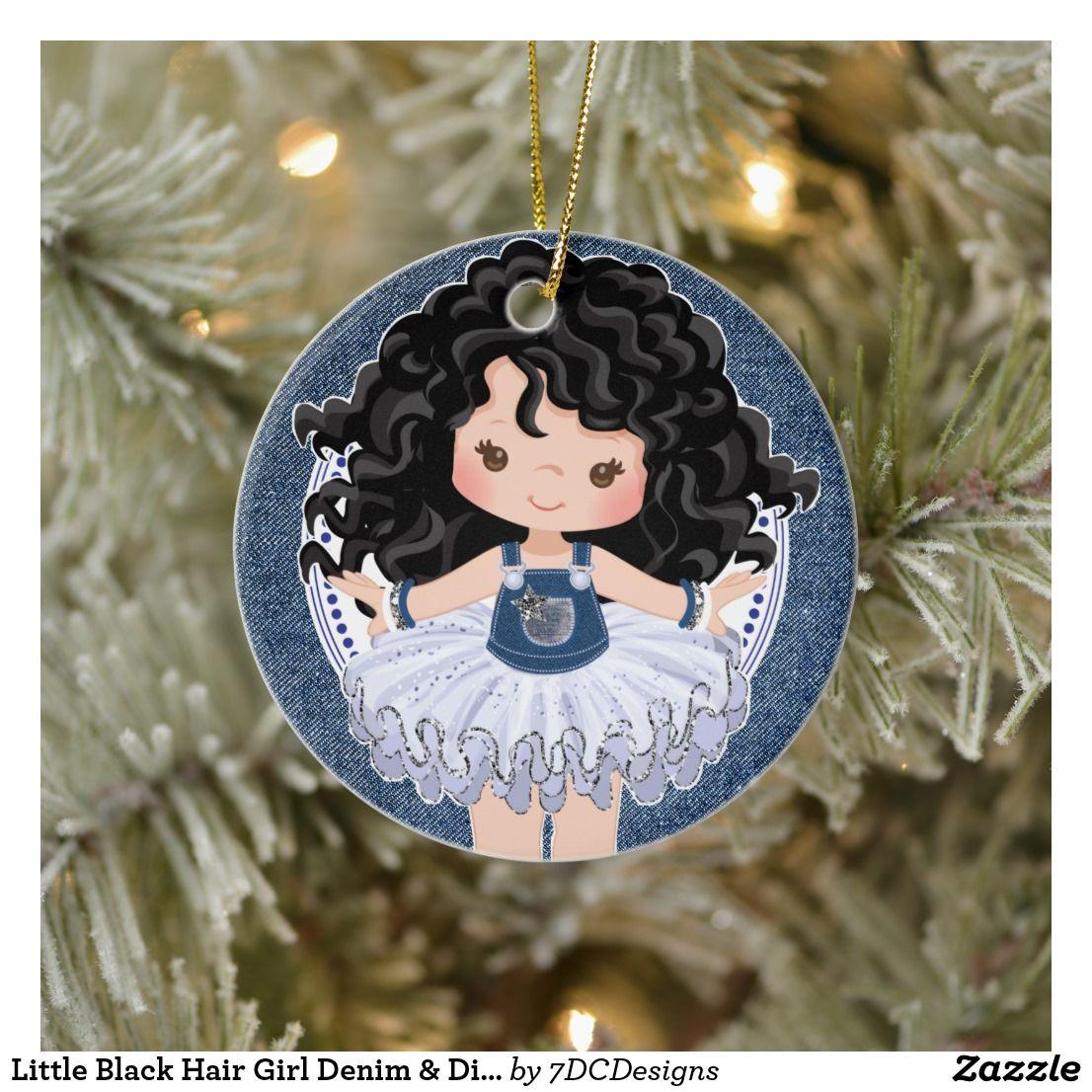Little Black Hair Girl Denim & Diamonds Christmas Ceramic Ornament | Zazzle.com
