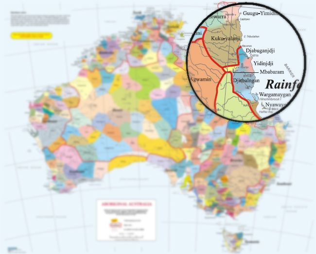 Map Of North East Australia.Map Of Australia With Focus On The Rainforest People In The North